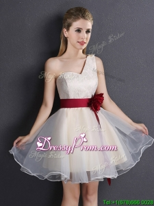 Exquisite One Shoulder Dama Dress with Handcrafted Flower and Lace