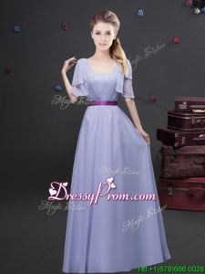 2017 Exquisite Empire Square Belted Long Dama Dress with Short Sleeves