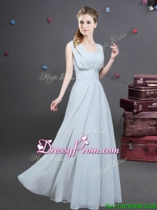 High End Empire Square Grey Long Dama Dress with Ruching