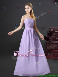 Latest Strapless Lavender Chiffon Dama Dress in Floor Length