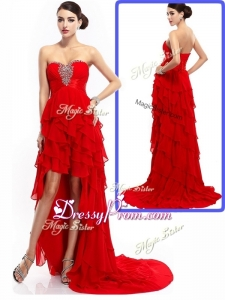 2016 New Style High Low Ruffled Layers Prom Dresses with Beading