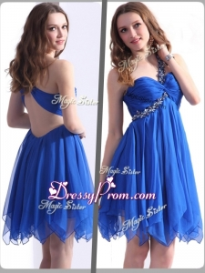 Best One Shoulder Blue Short Clearance Prom Dresses with Beading