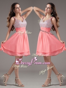 Discount Straps Beading Short Watermelon Beautiful Prom Dresses