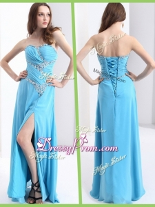Fashionable Sweetheart High End Prom Dresses with Beading and High Slit