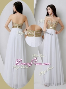 Fashionable Sweetheart White High End Prom Dresses with Beading and Sequins
