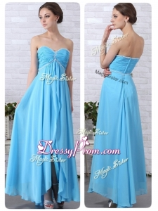 Pretty Empire Sweetheart Slit High End Prom Dresses in Aqua Blue