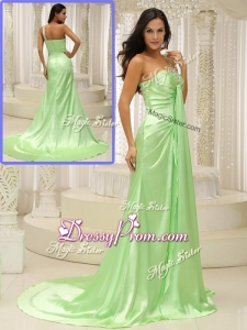Elegant Column One Shoulder Beading Simple Prom Dresses with Brush Train
