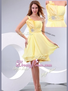 Lovely Short One Shoulder Beading and Belt Simple Prom Dress