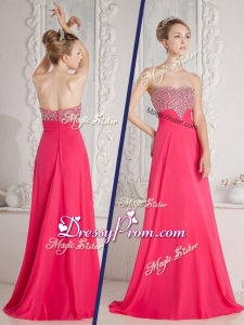 Romantic Empire Sweetheart Beading Simple Prom Dresses in Coral Red