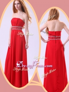 Simple Empire Strapless Red Simple Prom Dresses with Beading