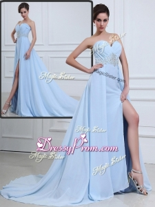 The Super Hot Brush Train Sweetheart Beading Sexy Prom Dresses in Light Blue