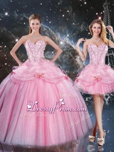 Detachable Ball Gown Sweetheart Beading Pink Quinceanera Gowns