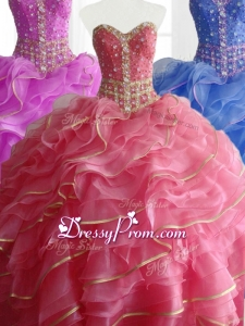 2016 In Stock Ball Gown Quinceanera Dresses with Beading and Ruffles