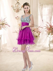Hot Sale Straps Short Prom Fuchsia Dresses with Sequins