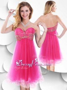 Pretty Sweetheart Hot Pink Short Prom Dress with Beading
