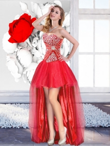 Classical Red High Low 2016 Prom Gowns with A Line