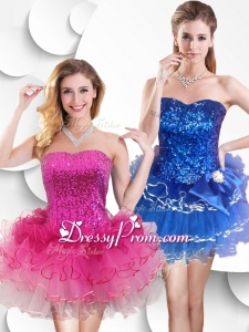 Hot Sale Short Strapless Prom Dress with Sequins and Ruffles