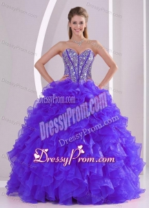 Discount Ball Gown Sweetheart Ruffles and Beaing Floor-length Quinceanera Gowns in Purple