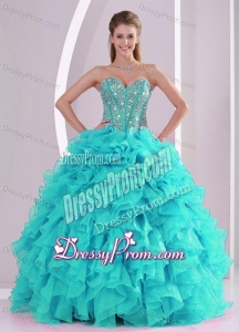 Elegant Turquoise Ball Gown Sweetheart Ruffles and Beaded Decorate Quinceanera Gowns in Sweet 16
