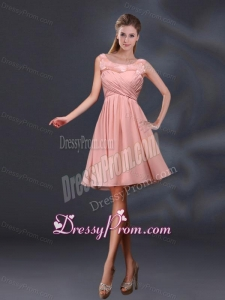 Bateau A Line Dama Dresses with Appliques and Ruching