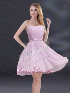 A Line Sweetheart Dama Dress with Ruhing and Belt