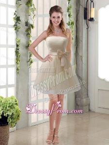 Simple Ruching Strapless Princess Dama Dress with Bowknot