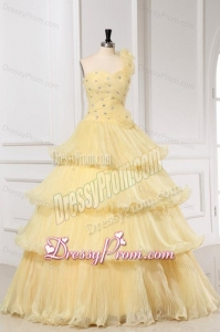 Light Yellow One Shoulder A-line Quinceanera Dress with Beading and Pleats