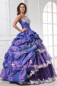 Purple Sweetheart Appliques and Pick-ups Quinceanera Dress for 2014