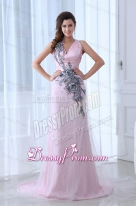 Beautiful Pink Column V-neck Tulle and Taffeta Prom Dress with Appliques