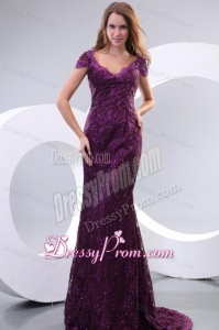 Column V-neck Short Sleeves Appliques Brush Train Prom Dress in Purple