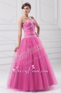 Hot Pink Sweetheart Beaded Decorate Tulle Quinceanera Dress