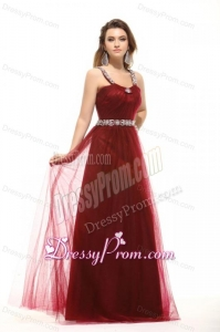 Inexpensive Empire Square Tulle 2014 Long Prom Dress with Beading