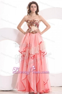 Informal Empire Sweetheart Watermelon Long Appliques Organza Prom Dress
