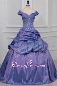Lavender Off The Shoulder Beading and Flowers Quinceanera Dress
