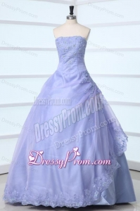 Lavender Strapless Appliques Decorate Quinceanera Dress for Sweet 16