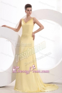 Light Yellow Column V neck Criss Cross Ruching Prom Dress with Brush Train