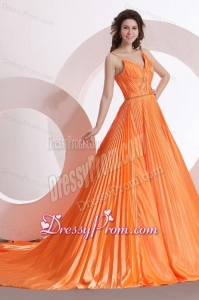 Modest Princes Straps Court Train Taffeta Orange Prom Dress with Ruching