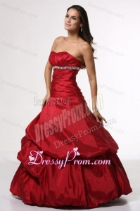 Wine Red Sweetheart Beading Taffeta Quinceanera Dress for Cheap