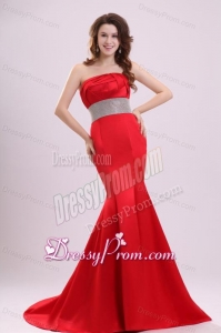2014 Sexy Strapless Mermaid Beading Brush Train Prom Dress in Red