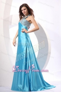 A-line Aqua Blue Halter Top Neck Beading Prom Dress with Sweep Train