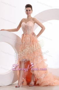 A-line Sweetheart Orange High-low Ruffles Organza Prom Dress with Lace Up
