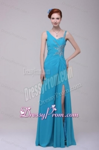 Asymmetrical Beading and High Silt Chiffon Prom Dress in Teal