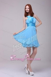 Baby Blue One Shoulder Ruching Prom Dress with Chiffon
