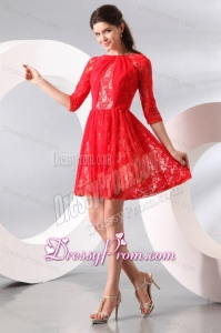Bateau Lace Fabric Over Skirt Mini-length Prom Dress with Half Sleeves