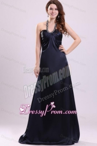 Black Halter Top Neck Floor-length Beaded Decorate Prom Dress for Spring