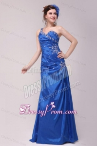 Cheap Column One Shoulder Blue Floor-length Beading Prom Dress