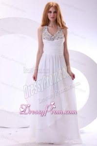 Chiffon Halter Top Beaded Empire White Prom Dress