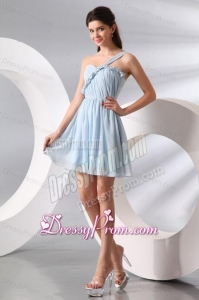 Cute Light Blue One Shoulder Ruching Mini-length Prom Cocktail Dress