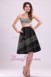 Discount A-line Sweetheart Knee-length Beading Taffeta Prom Dress