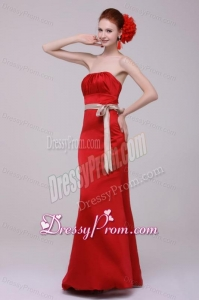 Elegant Column Straples Taffeta Red Floor-length Prom Dress With Sashes